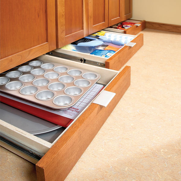 Gain Extra Storage E In The Kitchen By Installing Toe Kick Drawers Under Your Base Cabinets Just Emble Drawer Units Then Slip Them